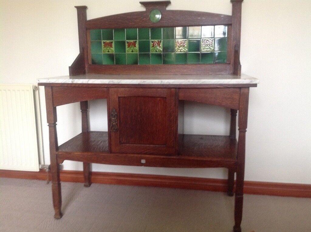 Art nouveau, antique marble top wash stand