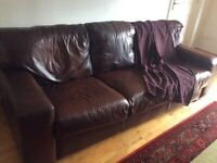Leather 3 seater brown