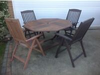 Large Octagonal Hard Wood Patio Table and 4 Recliner Chairs