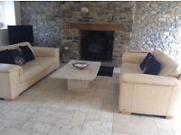 2x extra large natuzzi cream leather sofas