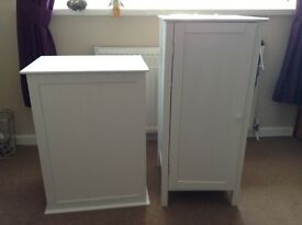 Laundry Box & Cupboard Set White In Wood