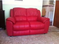 Red Leather, 2 seater sofa