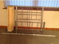 Metal single bed.