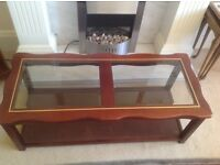 GLASS TOP COFFEE TABLE WITH LOWER MAGAZINE/BOOK SHELF
