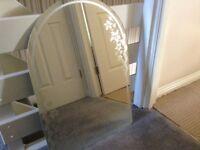 Lamp, pedestal, mirror
