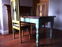Farmhouse Solid Wood Table and Pair of Decorative Cathedral Chairs / Can Deliver