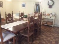 Rustic dining/kitchen table (L 228, W 106, H 76 cms). plus 6 chairs. Excellent condition