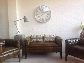 Chesterfield sofa armchairs suite. Can deliver