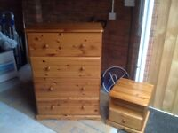 Polished large Pine chest of drawers and matching bedside cabinet