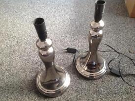 Two silver base lamps