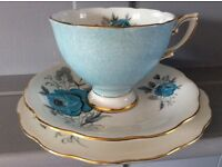 Royal Standard Vintage Bone China Trio, Blue Floral.