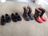 Girls shoes, boots, wellies. Prices and sizes vary.