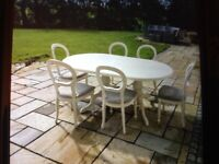 FOR SALE DINING TABLE AND 6 CUSHIONED CHAIRS