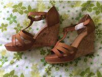 Ladies tan wedge sandals size 6 Brand New