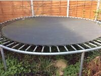 Heavy framed 12ft dia trampoline in good condition.