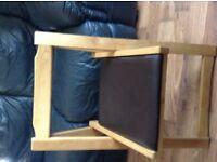 Oak fold down table 4 chairs