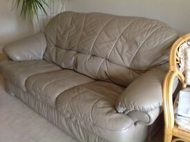 QUICK SALE - THREE SEATER LEATHER SOFA also matching chair and 2 seater for sale