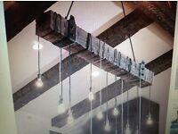 DIY oak beam chandelier with 6 antique filament bulbs