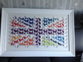 Large Union Jack Butterfly Framed Picture