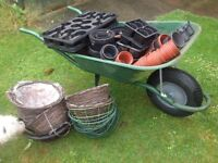 Used plant pots and baskets