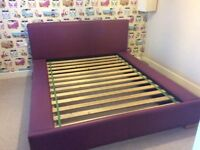 Dreams purple Faux leather double bed frame with built in book shelves