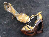 Platform wedge high heel sandals shoes El Dantee FAITH mustard yellow 4