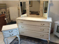 Large Chest Of Drawers + Bedside Table + Triple Mirror