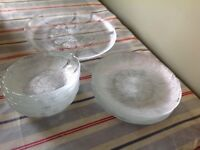 Glass serving plates and bowls