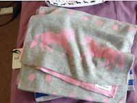 Ladies pink and grey horse scarf.