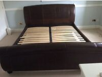 Brown real leather super king bed