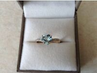 Ladies Diamond & Aquamarine 9ct Gold Ring