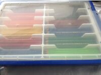 Box containing over 200 coloured pencils