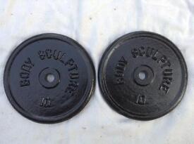 14 x 10kg Bodysculpture Black Standard Cast Iron Weights