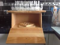 PIne Bread Bin, Pine Work Top Savers / Chopping Board and 12 Matching Glasses 6 Tall and 6 Medium