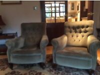 Pair of Victorian lounge chairs