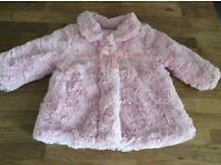 Baby Girls Pink Furry Coat Size 3-6 Months