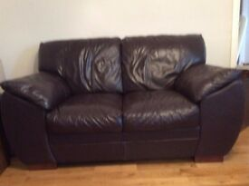 2 dark brown leather sofas, 1 x 3 seater and 1 x 2 seater
