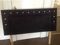 Unique swarovski double bed black velour padded large headboard, great condition