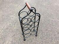 Rustic wine rack with wooden handle