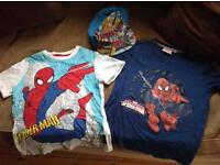 SPIDERMAN BUNDLE; 2 Spiderman t-shirts, age 5, watch, large plastic ornament, cap.