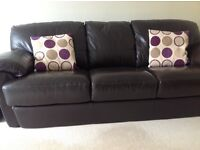 Brown leather settee chair footstool