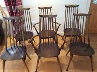 Ercol Goldsmiths mid century dining chairs set of 6