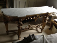 Console Table Marble Top/Gilt Frame Gold
