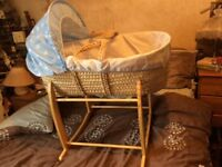 Moses basket and stand free local pick up good condition just covers need washing