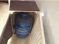 Gas bottle heater, 2 armchairs, antique wardrobe