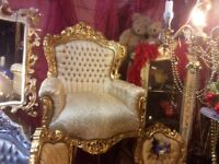 Fabulous gold French rococo style throne chair