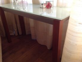 Modern glass/wood console table