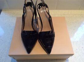 Stunning Black Paintent Court Shoe by Faith