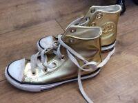 Gold Converse. Junior size 12. Good condition