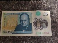 British £5 Note - AK02. - £100